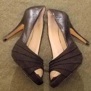 Thalia Sodi - Marissa - Black Snake Peep-Toe Pumps